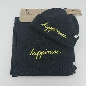 ED Ellen DeGeneres Knit happiness Beanie/Scarf Set